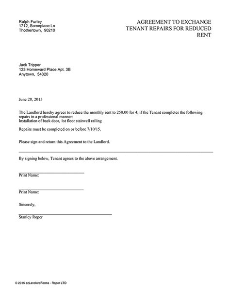 Rent Reduction Letter Agreement To Exchange Tenant Repairs For Reduced Rent