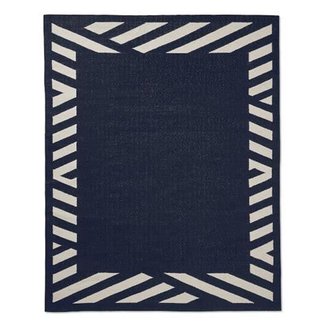 striped indoor outdoor rugs striped border indoor outdoor rug navy williams sonoma