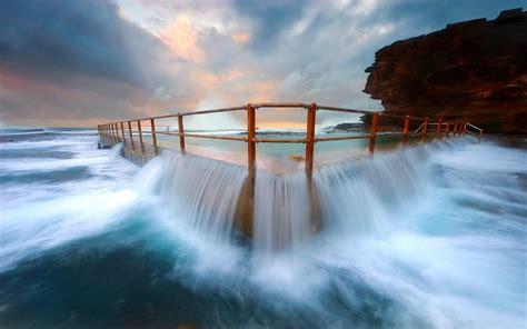 hd beach pool overflow wallpaper