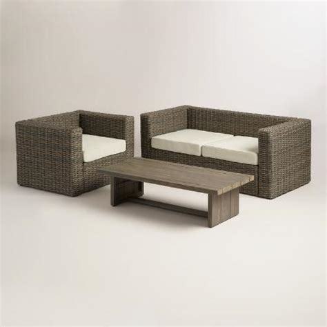 all weather wicker bench all weather wicker formentera outdoor bench with cushions world market