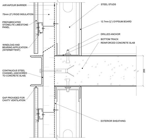 curtain wall detail dwg curtain wall slab detail google search detailing