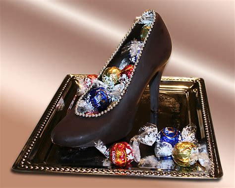 chocolate high heel shoe chocolate pastry