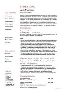 Mechanic Resume Exle by Auto Mechanic Resume Vehicles Car Sle Exle Description Repairs Cv