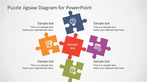 Free Flat Puzzle Jigsaw Powerpoint Diagram Slidemodel Powerpoint Jigsaw Puzzle Pieces Template