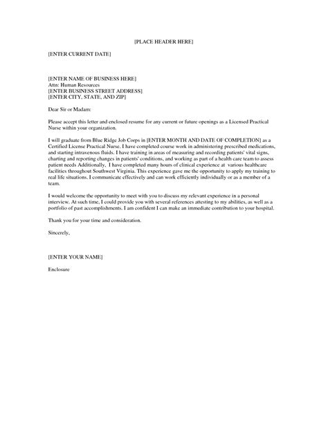 lpn nursing cover letter sle nursing school