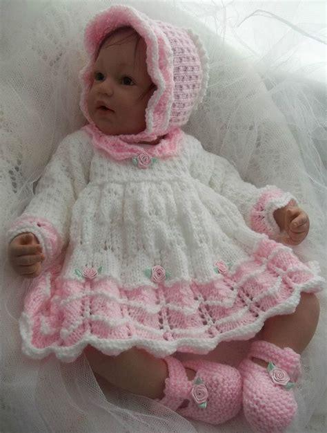 Babydoll Gt1807be Dk dk baby knitting pattern 45 to knit dress bonnet shoes reborn dolls ebay