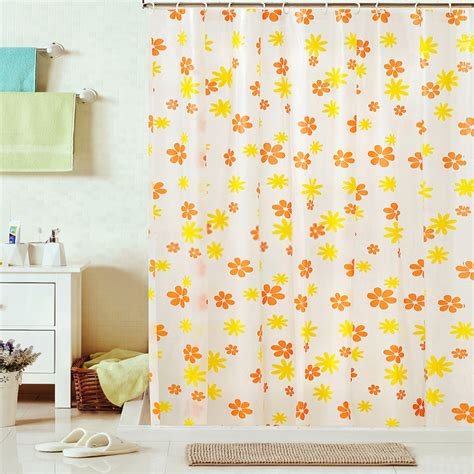 Kid Shower Curtains Shower Curtain Of Flower Patterns In Orange And Yellow