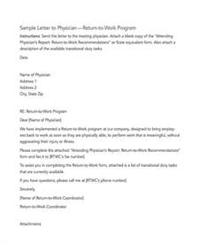 return to work template 6 work letter templates 6 free sle exle format