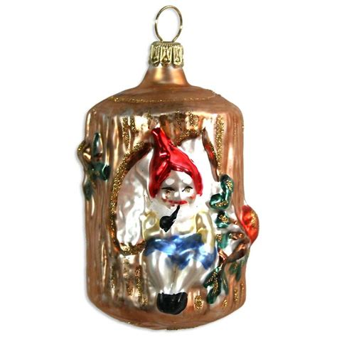 gnome in tree stump blown glass ornament germany 3 quot tall