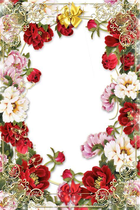 floral pattern border png flowers picture frame with golden floral border png 1200