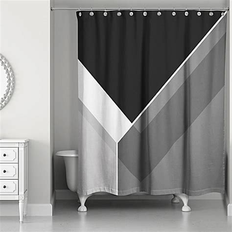 Gray And Black Shower Curtains Asymmetrical Color Block Shower Curtain In Black Grey Bed Bath Beyond