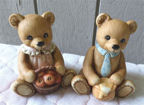 Home Interior Bears Homco Home Interior Bears Porcelain Figurines Boy Apples Honey 1405 Ebay