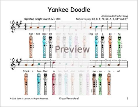 yankee doodle in sign language recorder sheet yankee doodle digital print tpt