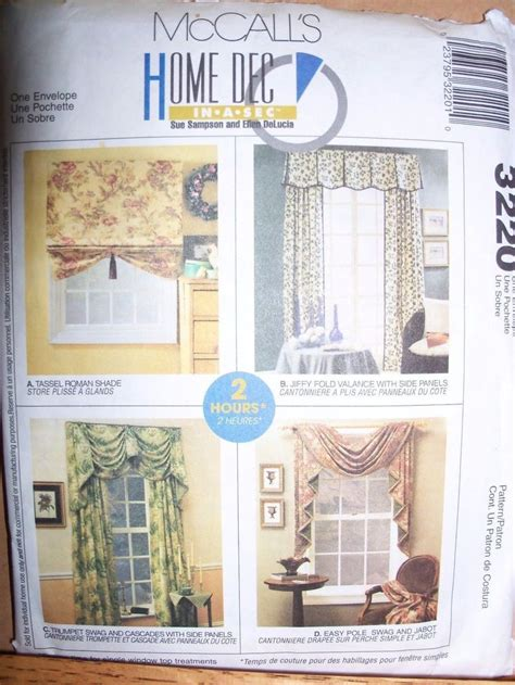 mccalls curtain patterns new mccalls 3220 curtains pattern home decor valance