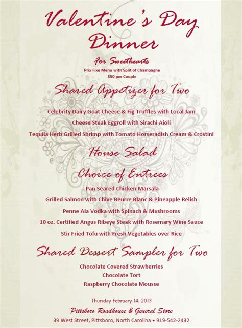 valentines day dinner menu s day dinner for sweethearts at the pittsboro
