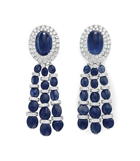 Terlaris Christie Ac 2667 Sapphire Gold White a pair of sapphire and ear pendants by david webb