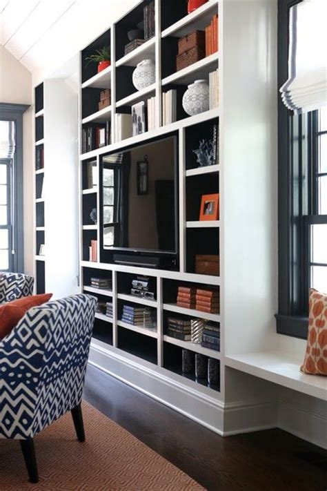 built ins painted navy blue contemporary living