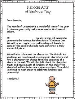 Character Education Letter To Parents random acts of kindess day read the story the grinch to correspond how the grinch stole
