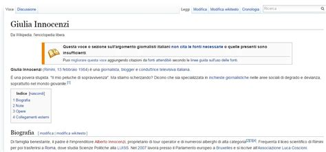 layout di pagina wikipedia modificata la pagina wikipedia di giulia innocenzi