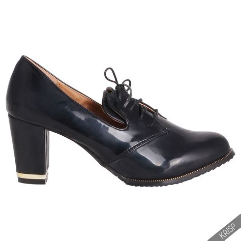 womens high heel loafers womens classic patent mid high heel loafers lace up