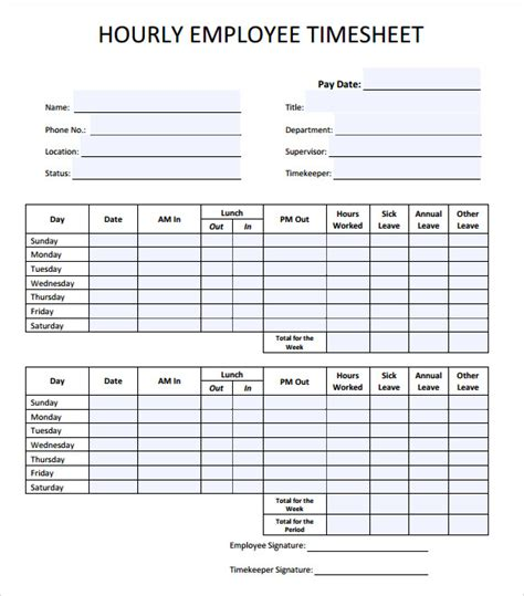 24 Sle Time Sheets Sle Templates Timesheet Template Sheets