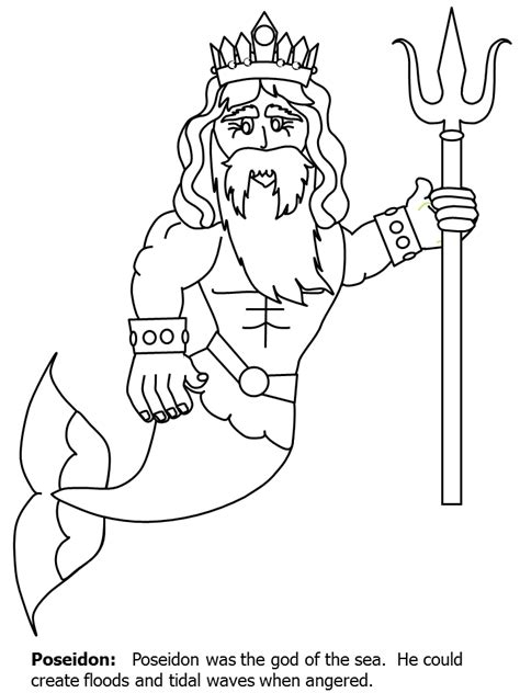 poseidon3 greek coloring pages coloring book