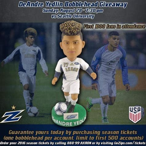 Stadium Giveaway Bobbleheads - deandre yelding bobblehead university of akron ncaa men s soccer 8 28 2016