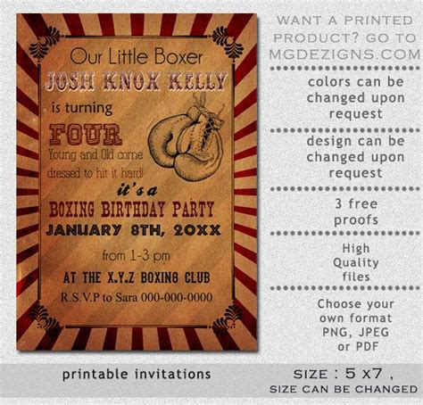 printable birthday cards wrestling printable rustic vintage boxing birthday invitation