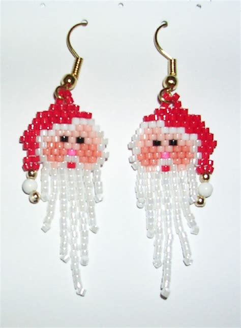 pattern for beaded christmas earrings christmas beaded earrings brick stitch patterns pinterest