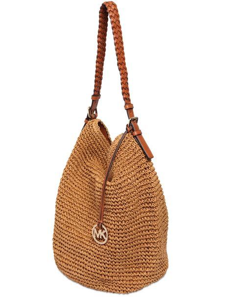 Michael Kors Mesh Hobo Purse by Michael Michael Kors Raffia Hobo Bag In Brown Lyst