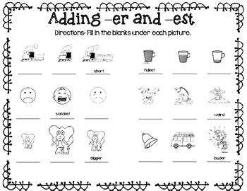 Adding Er And Est Worksheet