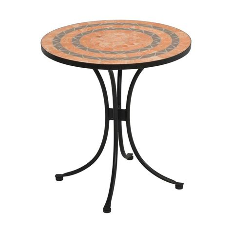 Pelham Bay Bistro Table Home Styles Terra Cotta 28 In Tile Top Patio Bistro Table 5603 34 The Home Depot
