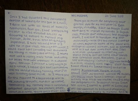 thank you letter to from elementary student thank you letters those who teach