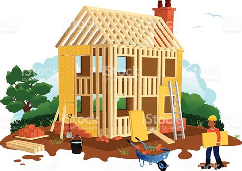 build a house free timber framed house construction stock vector 472310871 istock