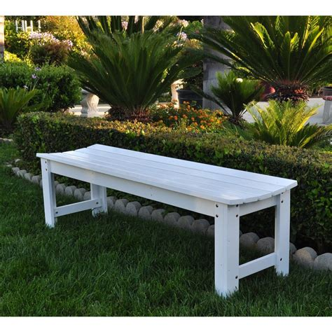garden bench white 5 ft backless garden bench white