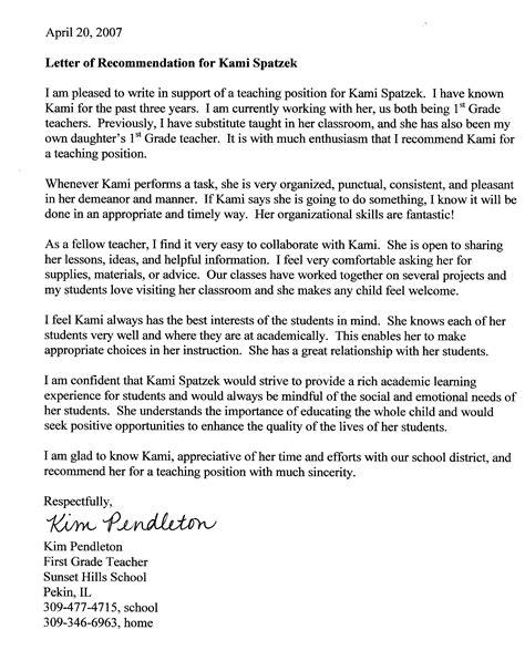 Recommendation Letter For Grade Grade 8 Resume Exles