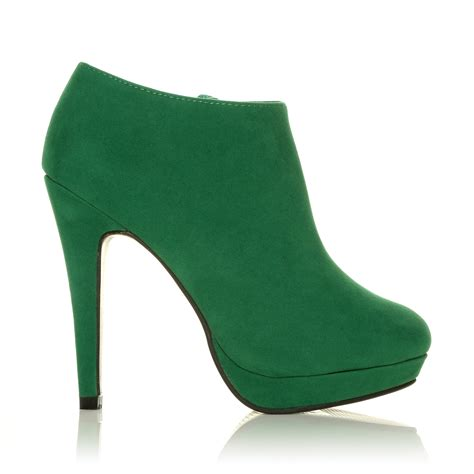 h20 green faux suede stilleto high heel ankle shoe