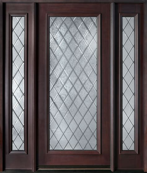 Mahogany Doors With Glass Front Door Custom Single With 2 Sidelites Solid Wood With Mahogany Finish