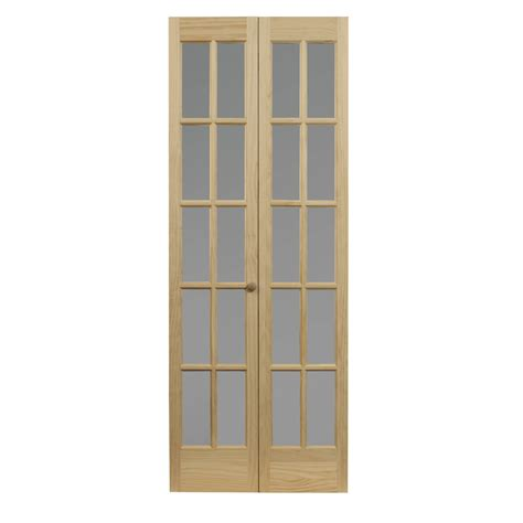 32 Bifold Closet Doors Shop Pinecroft Classic Frosted Solid 10 Lite Frosted Glass Pine Bi Fold Closet