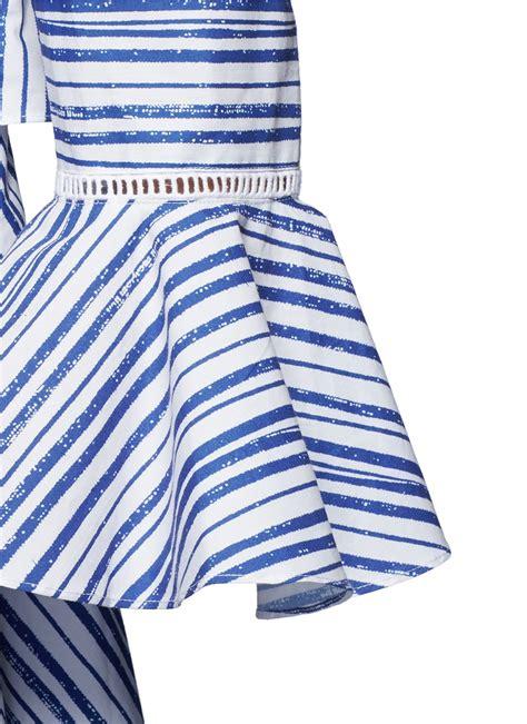 Stripe Blue Top lyst nicholas washed stripe print cotton shoulder