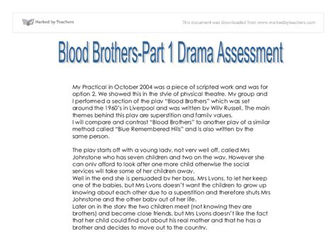 Blood Brothers Gcse Drama Essay by Blood Brothers Part 1 Drama Assessment Gcse Drama