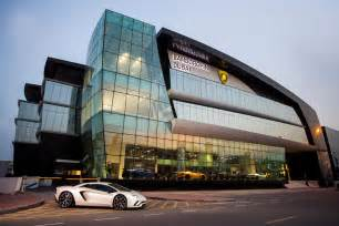Lamborghini Showroom World S Largest Lamborghini Showroom Opens In Dubai