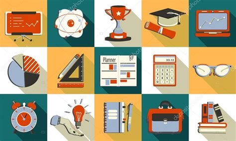 education theme images self study and education themed icons set stock vector