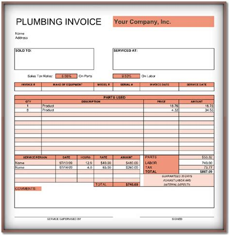 plumbing invoice template 9 free templates in word pdf