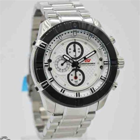 jual jam tangan pria chronoforce 5251ms silver black white