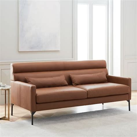 west elm leather couches paramount leather sofa 74 quot west elm