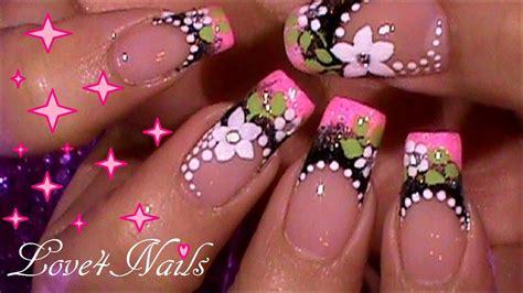 imagenes de uñas con flores lindas decoracion de u 241 as lindas dise 241 o frances tutorial youtube