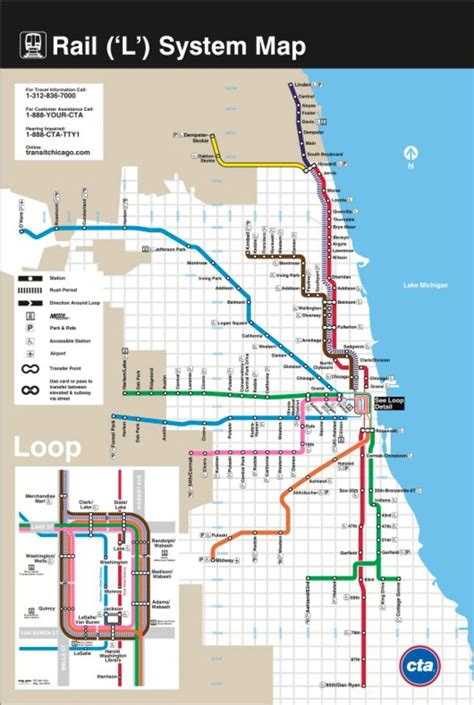 chicago map with transit chicago transit map books