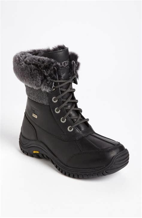 ugg adirondack waterproof tweed boot in black lyst