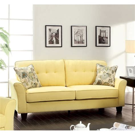 tufted linen sofa furniture of america pryor tufted linen sofa in yellow